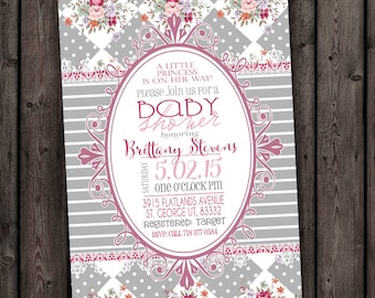 Pink And Gray Shabby Chic Baby Shower Invitation ...