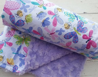 Minky baby blanket-Personalized girls lilac swirl minky baby blanket in butterfly print-baby minky blanket with applique name