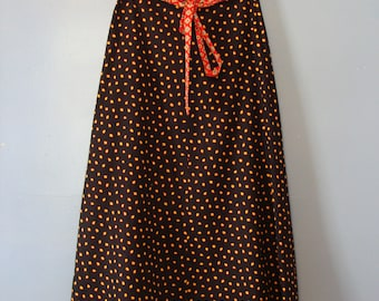 Vintage Midi Skirt Reversible 70's A-Line Wrap Skirt Leaves Bandana Fall Fashion Boho Chic Bohemian Hippie Gypsy Leaf Autumn Halloween 1970s