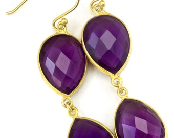 Purple Amethyst Earrings Bezel Set Double Hung 14k Solid Gold or Filled Long Teardrop Shape Deep Rich Classic Simple Contemporary 2.2 Inches