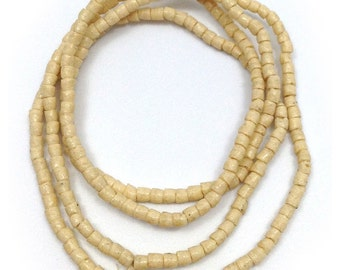 Glass beads, cream, 3 mm, cylinder, Ghana, tubes, 67
