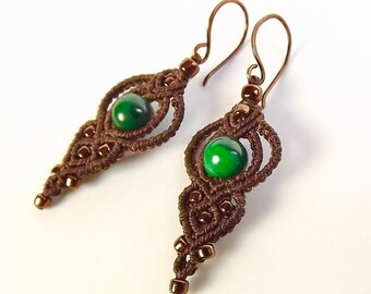 Macrame Earrings, Brown with Natural Malachite Beads and Metallic Bronze Seed Beads