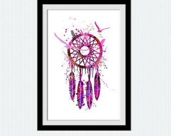 Watercolor dream catcher print, dreamcatcher pink purple poster, bedroom decor, home wall art, nursery print, girl's room art baby gift W128