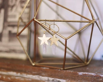Star Wishes Earrings in Brass or Silver Plated with Quartz Crystals