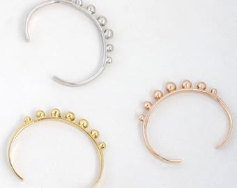 silver cuff bracelet | silver ball cuff | silver sphere cuff | modern cuff | modernist cuff | silver statement bracelet | silver dotted cuff