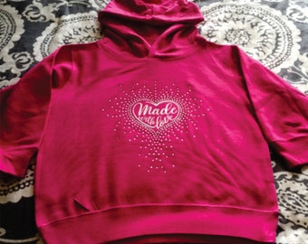 """Custom, """"Made With Love,"""" Rhinestone and vinyl Toddler Hoodie with Pockets"""