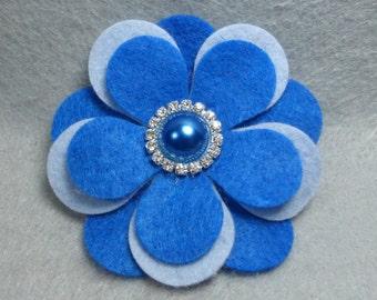 Felt Flower Brooch - Blue Flower Pin, Felt Pin, Felt Brooch, Fabric Flower, Felt Flower Pin, Felt Jewelry