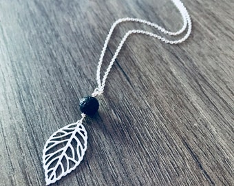 Leaf and Lava Stone Bead Diffuser necklace in Sterling Silver. Aromatherapy.