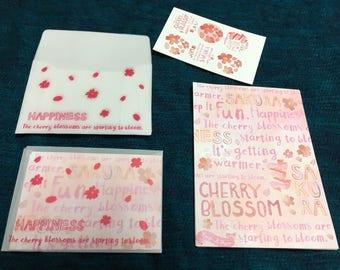 Cute mini stationery set sakura cherryblossom design from japan