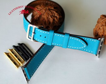 Double tour Apple watch Strap, Lake Blue leather watch strap, 4 Buckle and 8 lug colors option