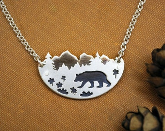 Black Bear in Wildflowers - Sterling Silver Mountain Range Pine Trees Landscape - Artisan Forest Necklace - Nature Lover Gift