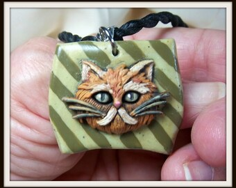 Cat Necklace, Brown Tabby, Polymer Clay, Button, Cat Lover, Cat Pendant, Kitty Cat Love, Fun Jewelry