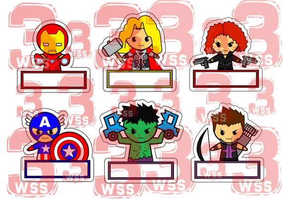 Items similar to Name Tags Superhero Templates as toppers ...