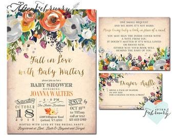 3 Piece Fall Baby Shower Invitations Set Autumn Baby Shower Invitations Fall  In Love Baby