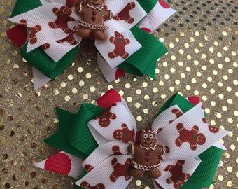 Gingerbread hair bow, Christmas hair bow, Festive hair bow, Holiday hair bow, red and green hair bow