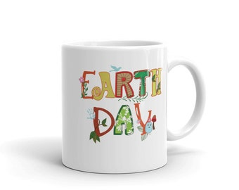 Cute Earth Day Leaves Vines Plants Letters Coffee Mug