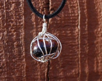 Silver Wire-wrapped Red Agate Pendant