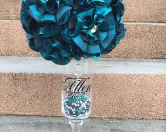 Personalized Satin Flower Ball Centerpiece with Wedding Logo