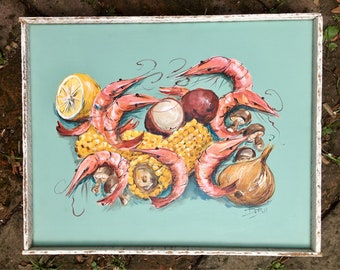 SHRIMP BOIL   Original painting by New Orleans artist Paige DeBell   16x20 with salvaged lathe frame** Beach Decor