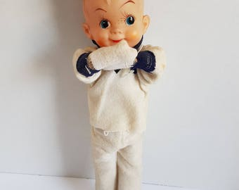 Vintage 12 Inch Straw Stuffed Sailor Boy Doll with Rubber Face