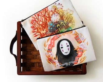 No Face from Spirited Away and Ohmu from Nausicaa Studio Ghibli Zipper Bag