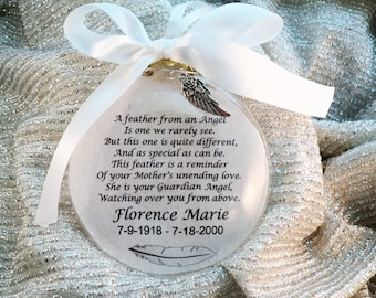 In Memory Memorial Guardian Angel Ornament Feather from an Angel Personalized, for Mother, Father, Loved One, Free charm