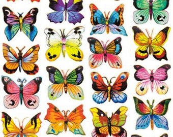 3 Sheets Self Adhesive Petite Butterflies Stickers Colorful Scrapbooking Stickers  Number 121