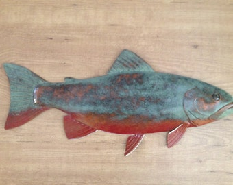 Brook Trout 24in Metal Wall Fish Sculpture Lodge Cottage Lake Cabin Art