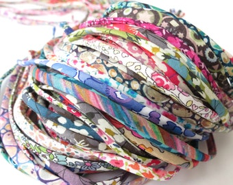5 yards Liberty spaghetti cord cut offs, mystery grab bag of 5mm wide Liberty fabric cords, jewellery making supplies, bracelet cord UK