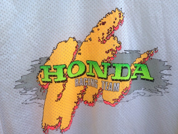 Colourful Honda In Motocross Sleeve 80s Vintage Racing Made Team Japan Long Honda 16x8v5aw