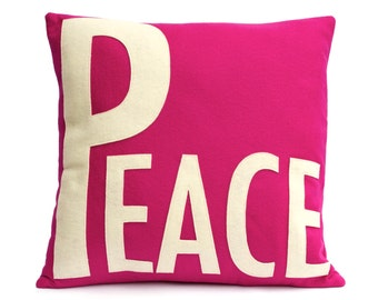 Peace Throw Pillow Cover Appliquéd in Antique White on Fuchsia Eco-Felt - 18 inches