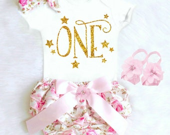 Baby Girl 1st Birthday Outfit Girls First Birthday Outfit Summer Birthday Outfit Birthday Bloomers Twinkle Little Star Birthday Outfit 17
