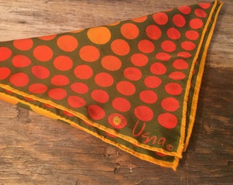 Vintage Vera Neumann Scarf/Ladybug/Orange Polka Dot/Made in Japan