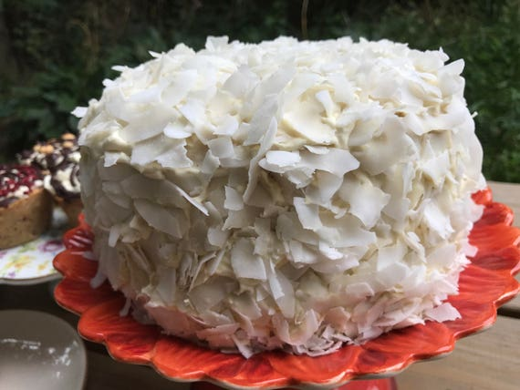 Vegan Coconut Lemon Vanilla birthday cake,no eggs,no dairy.