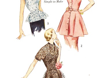 Simplicity 3535 Misses' Vintage 1950s Set of Evening Peplum Tops Sewing Pattern