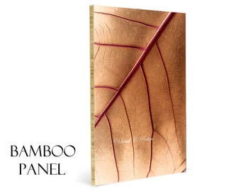 Bamboo Wall Panel-Image on Wood-Abstract-Nature-Fine Art Photography-Eco Friendly Artwork-Tan & Red Wall Decor-Woodland Art-Leaf Photography