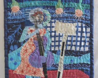 """Funky Fiddler 9""""x9"""" Fabric collage"""