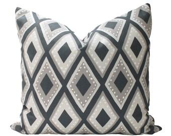 Decorative Designer Dwell Studio, Geometric Diamond, Ink Blue, Taupe, Accent Pillow Cover, 18x18, 20x20, 22x22 or Lumbar Throw Pillow