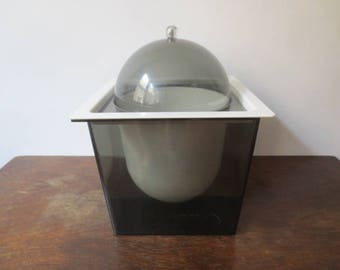 Vintage '60s Space Age Tall Smoked Lucite Ice Bucket w/ Dome Lid