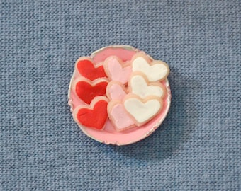 Dollhouse Miniature Food - One Inch Scale Iced Valentine Cookies - Hearts - On Plate - Removable