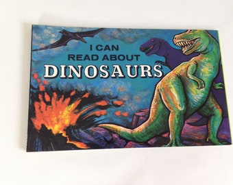 I can read about Dinosaurs vintage book, children's book, dinosaur book
