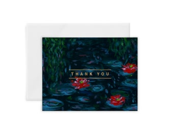 Waterlilies Card, Blue -  Thank You Card, Gratitude, Impressionism, Hand-Painted
