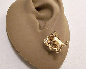 Avon Crystal Climbing Kitty Cat Animal Pierced Post Stud Earrings Gold Tone Vintage Clear Bezel Set Faceted Stone