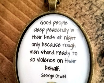 Navy Orwell Quote Necklace