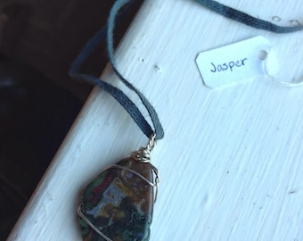Jasper Wirewrapped Necklace with Sterling Silver and Organic, Fair Trade, Hand-Dyed Charcoal Cotton - Ecofriendly Necklace