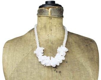 White Fruit Salad Necklace, Fruit Salad Bead Necklace, Fruit Bead Bib Necklace, White Bib Necklace