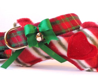 Jingle Bells Christmas Plaid Pet Collar