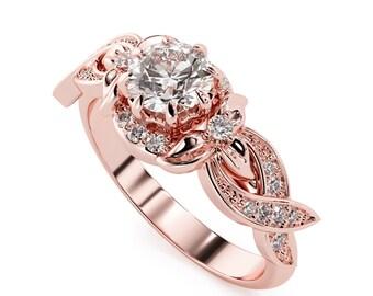 Halo Diamond Engagement Ring 14K Rose Gold Floral Ring Half Carat Natural Main Diamond Engagement Ring