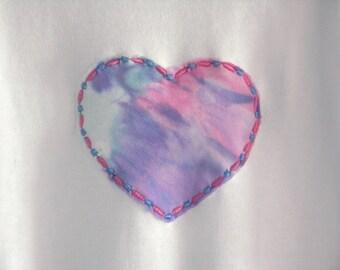 Early Baby - Tie Dyed Heart - Appliqued - Longsleeve Bodysuit