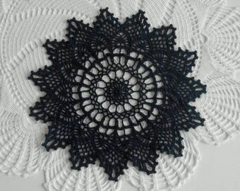 Crochet doily Dark blue doily Crochet doilies Lace doily Dark crochet doilies 416